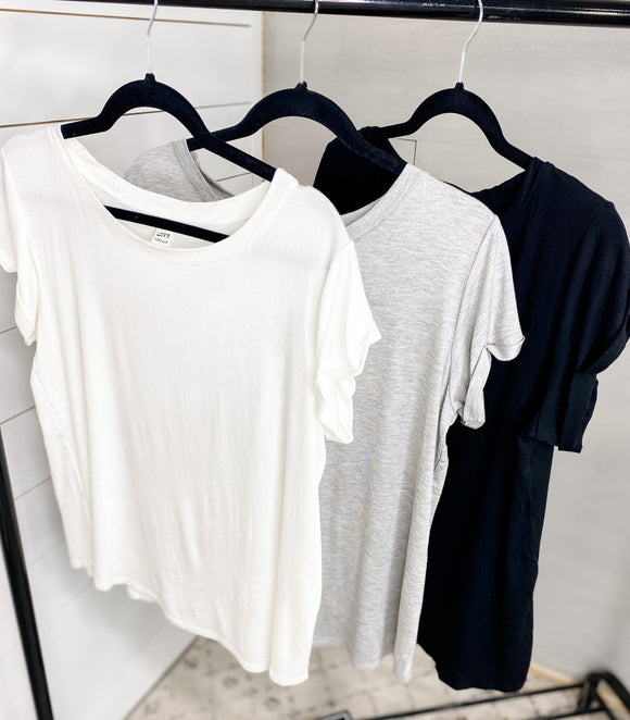 Even If- {White}{Gray}{Black} Round Neck/Cuffed Sleeve