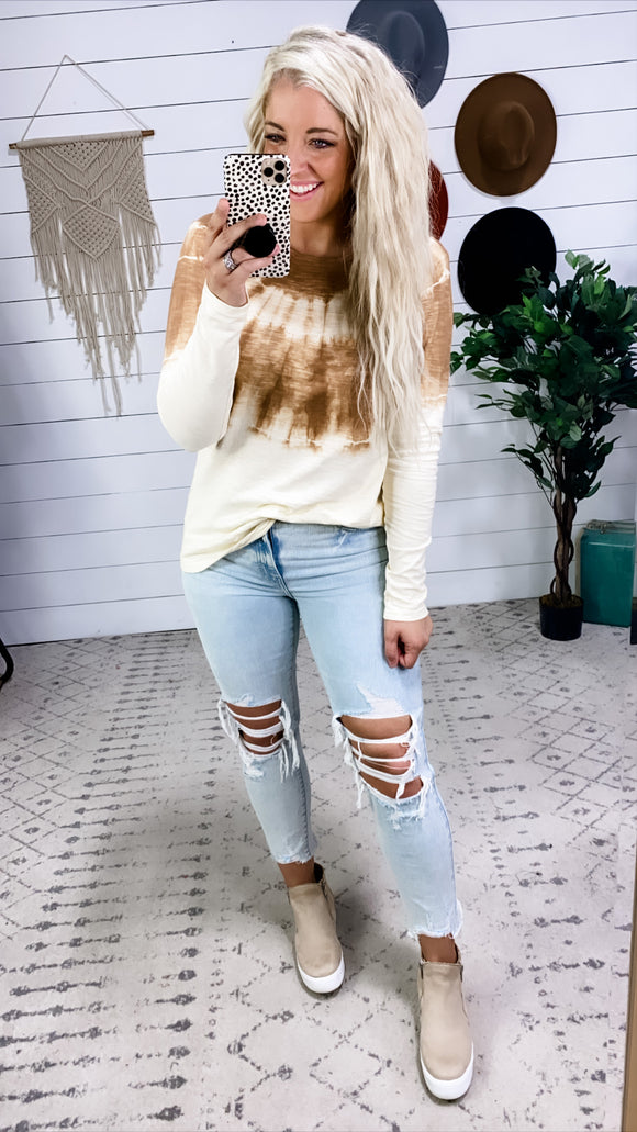 Dying Over This- Cream & Cinnamon Tie Dye Long Sleeve