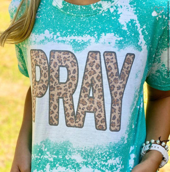 Pray Graphic Tee- Teal Bleached and Leopard Top