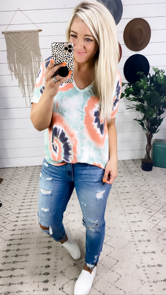 Not Today- Navy/Sage/Coral Tie Dye V Neck