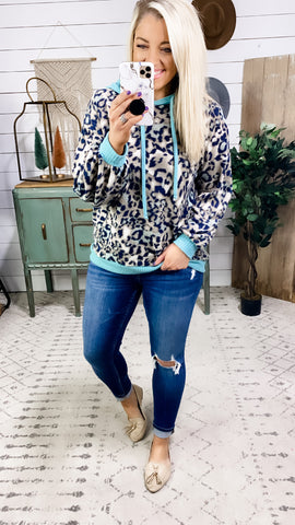 Trade Places- Leopard w/ Teal Waffle Knit Hoodie