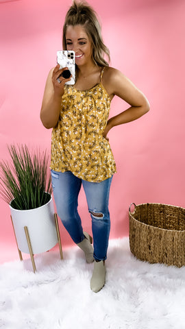 What A Delight- Mustard w/ Pink Floral Print Tank Top w/ Overlay Detail