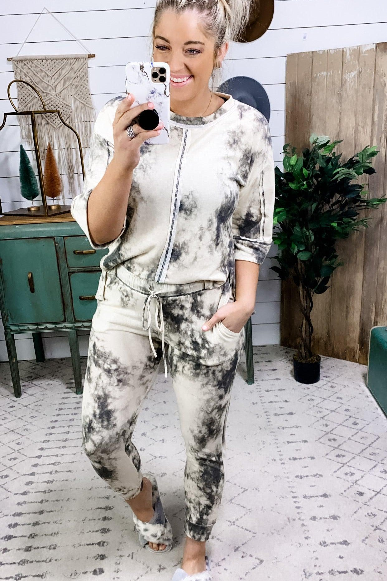 Got Me Hooked- MARBLE Top OR Pants Lounge Wear