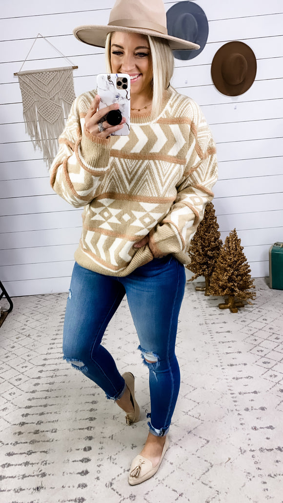 Make It Known- Ivory/Mocha/Peach Patterned Sweater