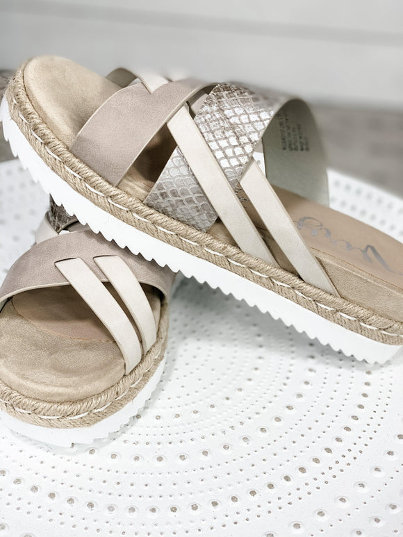 Move On By- Cream & Silver Snake Print Sandals