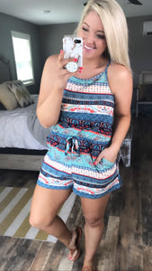 Windows Down- Navy & Coral Pasley Romper