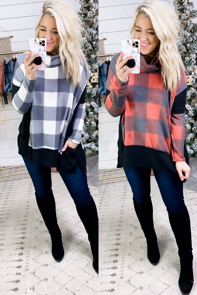 Asking About You- {Black & White/Black & Red} Poncho Style Cowl Neck