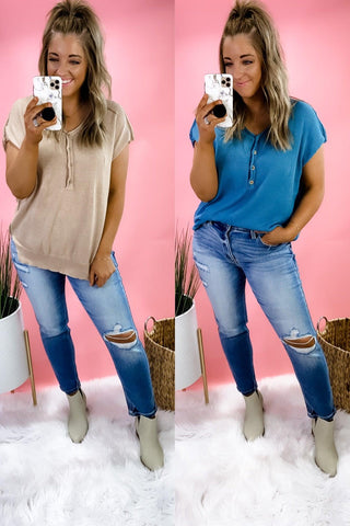 Take It To Heart- {Blue & Taupe} Short Sleeve Sweater w/ Buttons