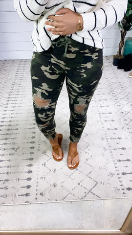 The Hunter's- {Camo} Distressed Skinny Joggers