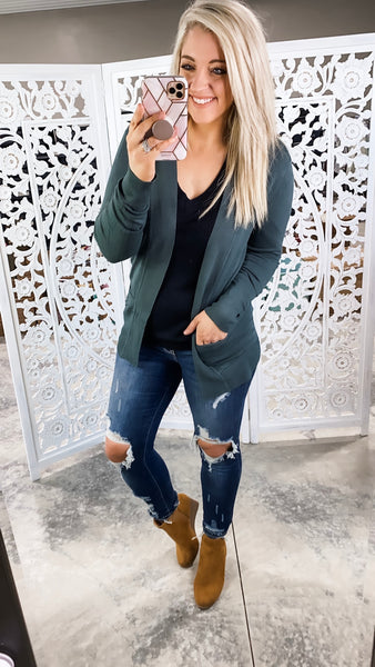 Can't Help It- Peacock Cardigan w/ Pockets
