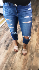 The Oakley's- Distressed Cropped Jeans