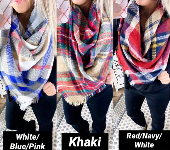 Plaid Blanket Scarf {Khaki, Red/Navy/White,White/Blue/Pink}