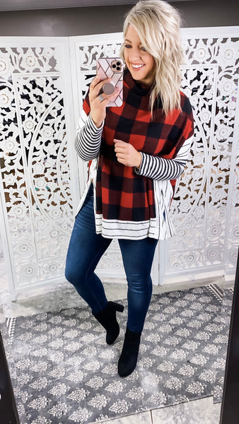 Can't Take Back - Plaid Cowl Neck Top