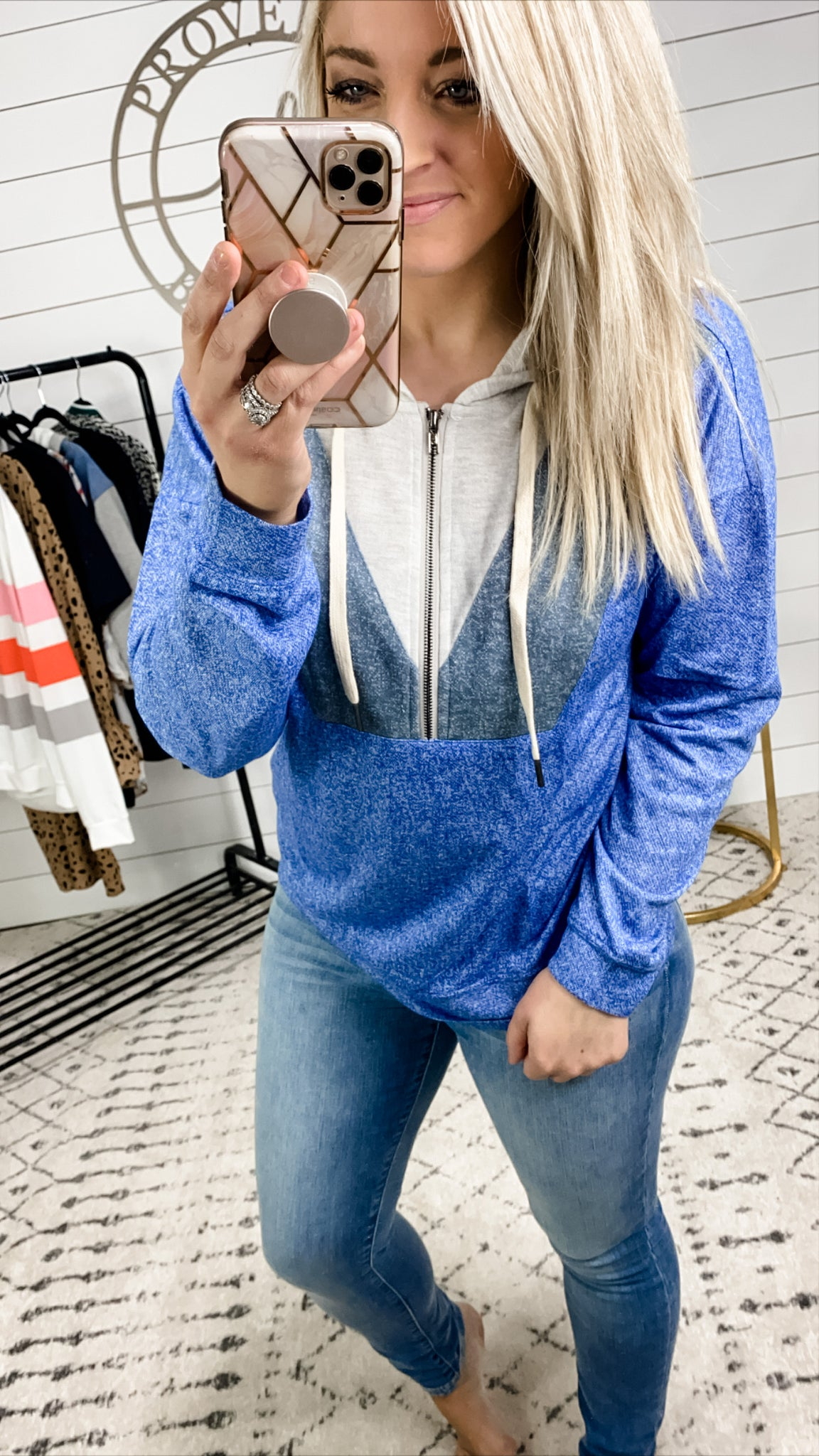 Wait A Minute- Gray/Blue Combo Zip Up Hoodie