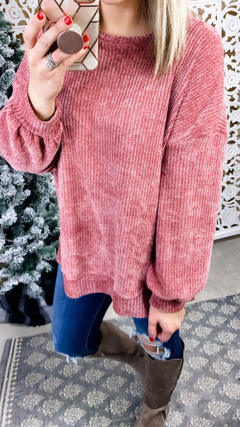 Crazy Over Us- Deep Mauve Chenille Sweater
