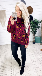 Never Go There- Burgundy Leopard Sweater