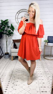 In This Moment- Rust Off Shoulder Dress
