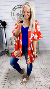 All For Me- Red & Floral Kimono