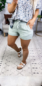 Starting To Heal- Sage Raw Edge Cuffed Shorts