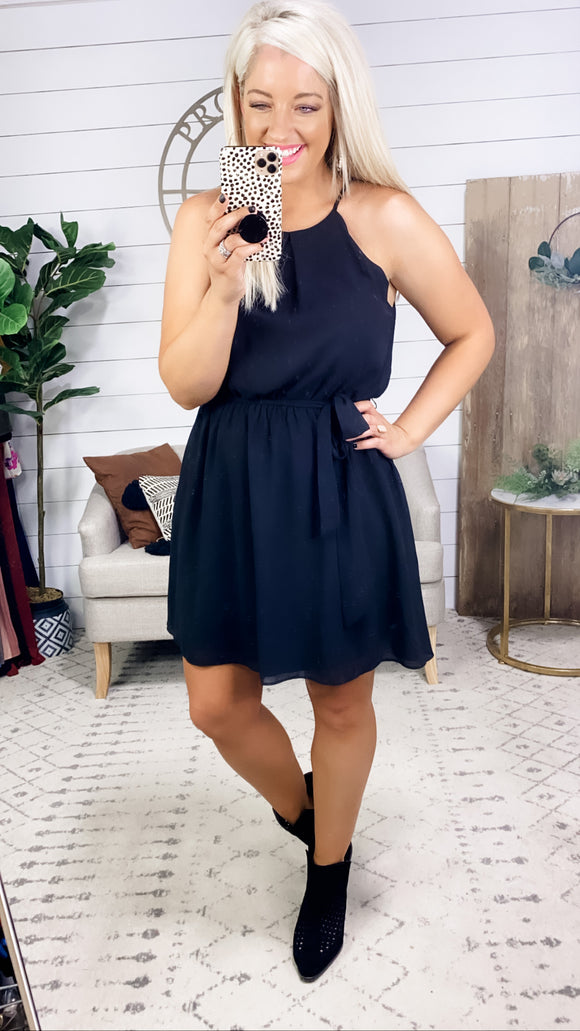 You Or Me- Black Scallop Halter Dress