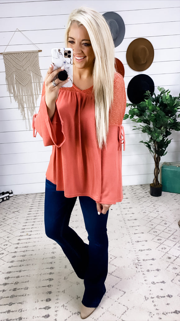 If You Say So- Marsala Baby Doll Top w/ Lace Detail