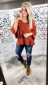 A Little Rusty - Rust Cold Shoulder Top