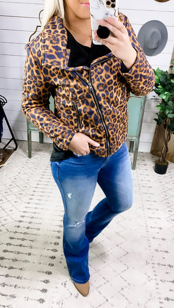 Running To You- Suede Leopard Jacket