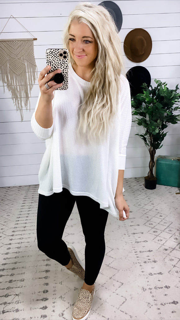 I Met You Before- WHITE Boxy Waffle Knit Top
