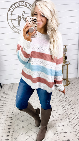 Take My Love- Wide Stripe Light Weight Sweater