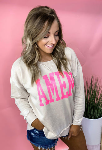 AMEN- Soft Oatmeal & Neon Pink Vintage Washed Fleece Pullover