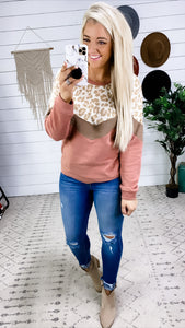 Why Don't You- Leopard/Tan/Mauve Sweater