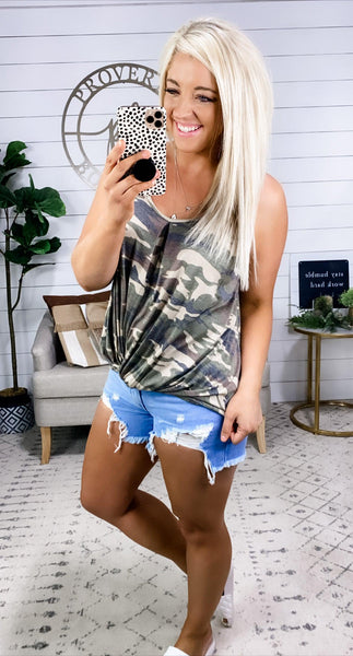 We Will Always Be- Camo Front Twist Tank