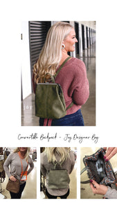 Phyllis Olive Convertible Backpack - Designer Bag {Joy Anderson}