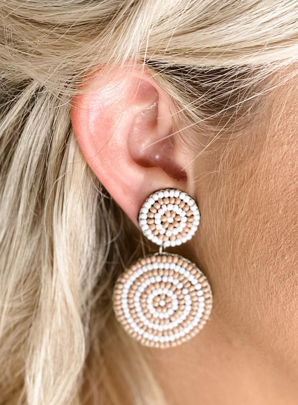 Peach & White Beaded Earrings
