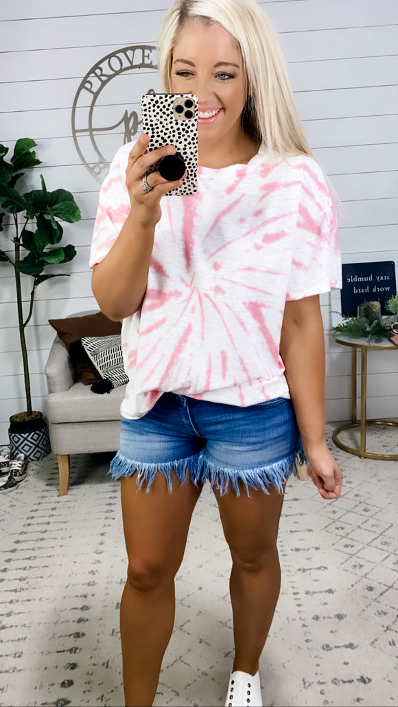 Things Change- Pink & White Tie Dye Top