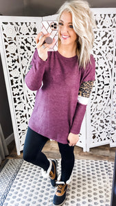Just In Time- Merlot Top w/ Leopard & White Detail
