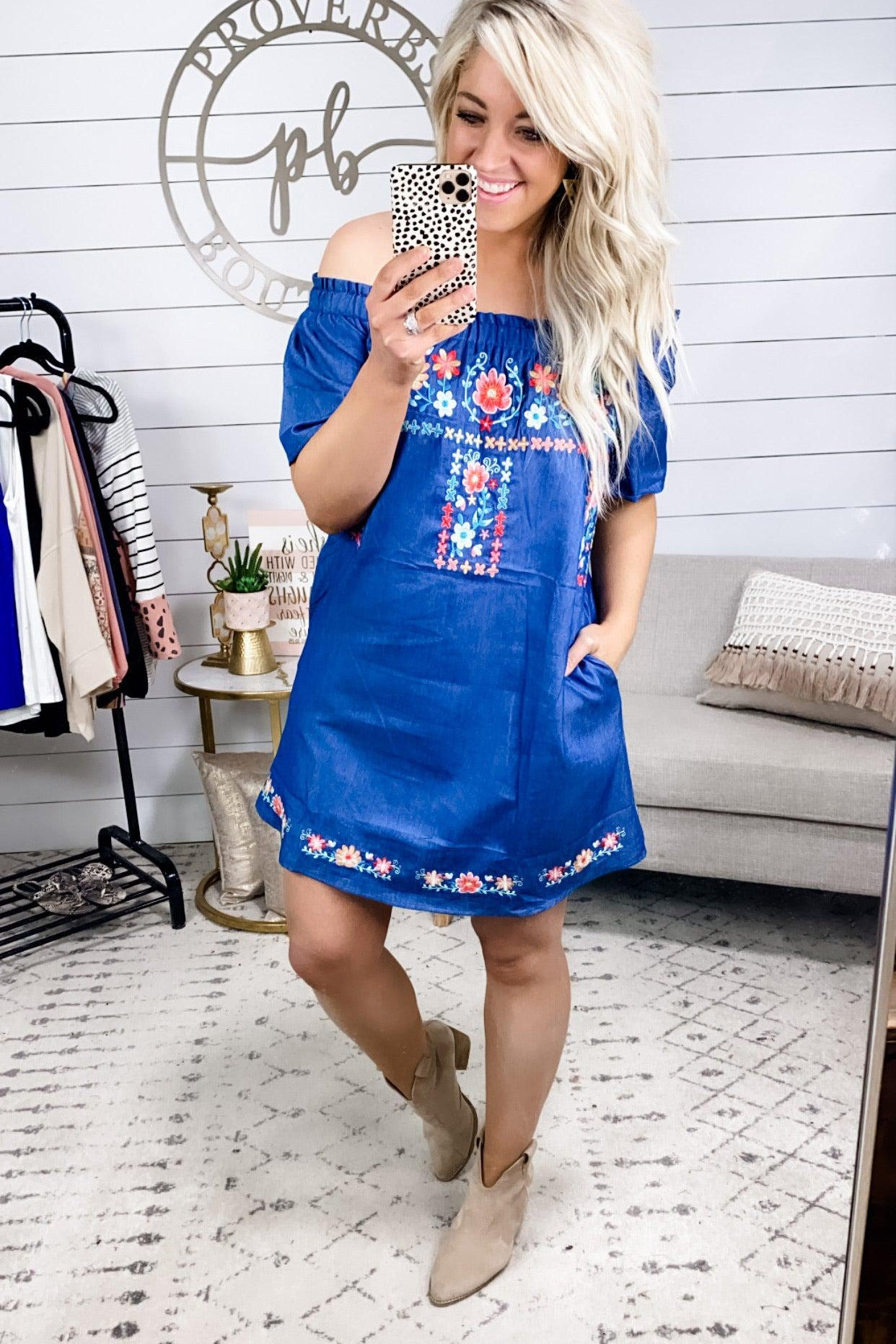 Bad Habit- Denim Embroidered Off Shoulder Dress