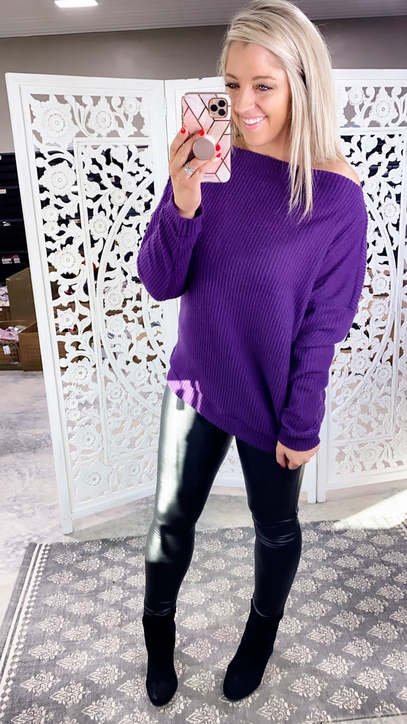 Here With Me- Purple Waffle Knit Zipper Detail