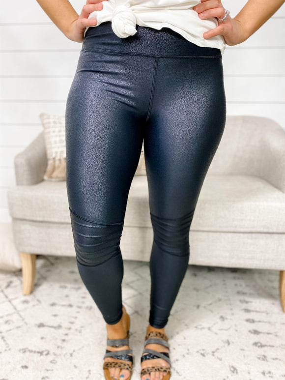 Just  A Feeling- Textured Leather Moto Leggings