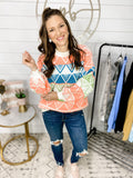 Bright Future- Multi Colored Aztec Pattern Sweater
