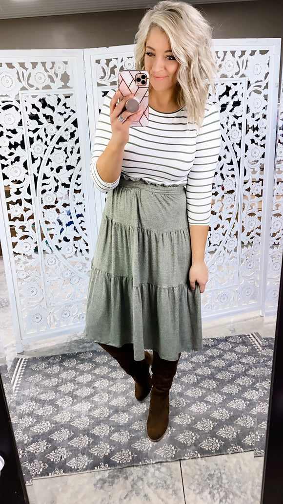 All I've Seen- Heathered Olive /Olive & White Stripe Dress