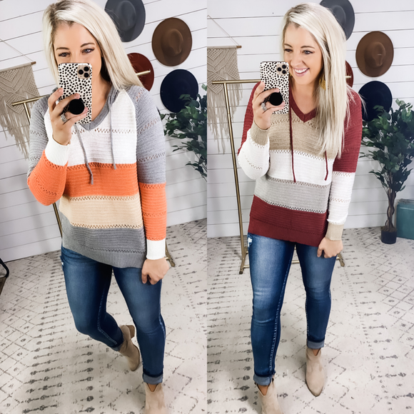 Just Go With It- Color Block Knitted Sweater w/ Hood {Gray & Burgundy}