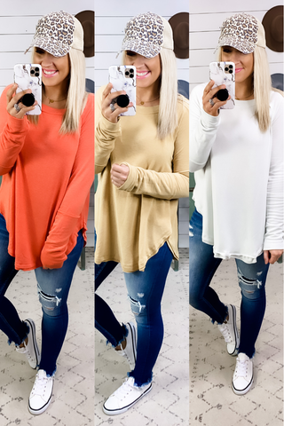 Cutting In Line- {Coral, Lt Gray, Mustard} Boat Neck Raw Edge Top