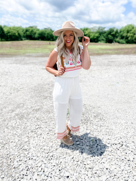 Doesn't Get Better- White Jumpsuit w/ Embroidered Detail