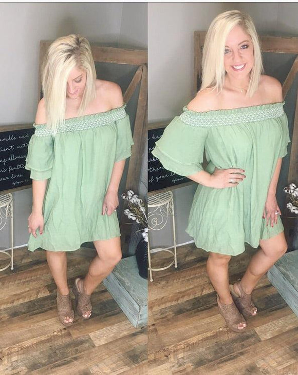 Sage off the shoulder dress
