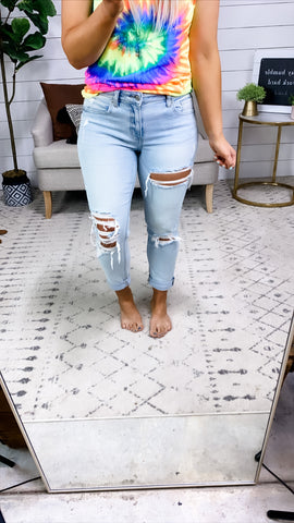 The Frankie's- Light Wash Distressed Jeans