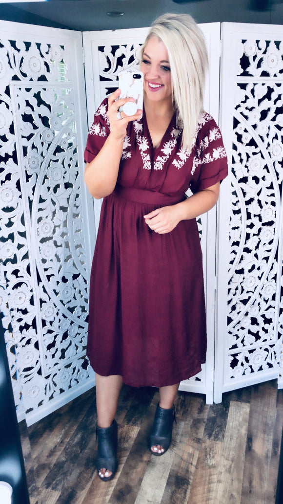 Wine Tasting- Dark Wine Embroidered Dress