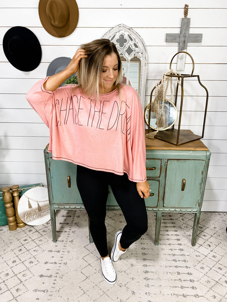 Chase The Dream- Pink Oversized Knit Top