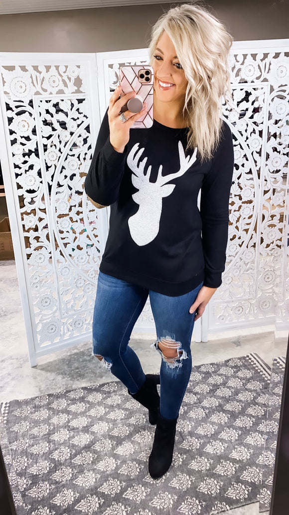 Oh Deer- White Sequin & Elbow Patch