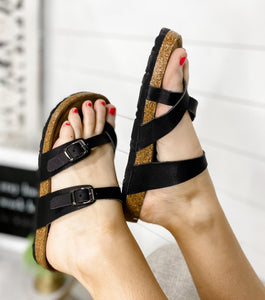 The Crossovers- BLACK Cross Over Toe Sandal
